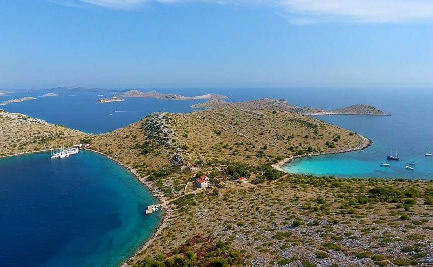 Kornati Half-Day Beach Escape tour cover photo with an overview of the islands